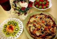 현미도우에 두유치즈를 얹은 크리스마스 피자